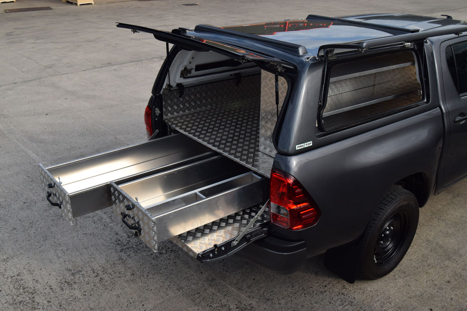 Toyota Hilux Bespoke Aluminium Drawer System fitted with ProTop Canopy : hilux aluminium canopy - memphite.com