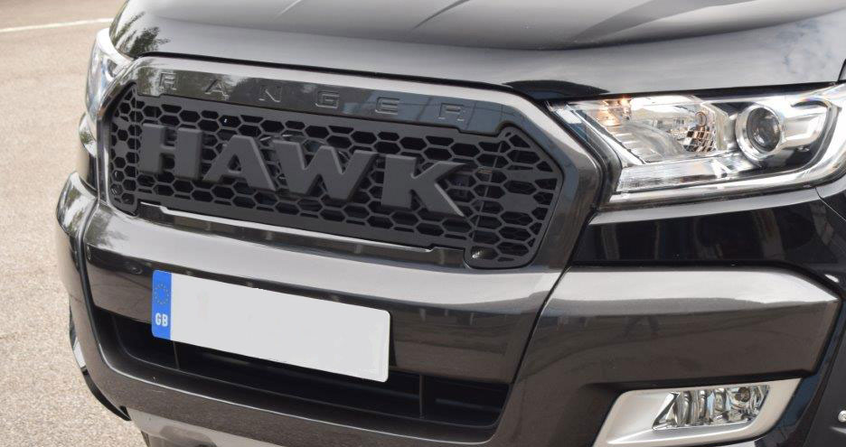 satin black front raptor style grill with hawk logo. Black Bedroom Furniture Sets. Home Design Ideas