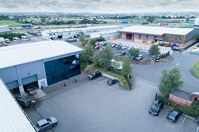Elevated view of 4x4AT offices and warehouses at Leeming Bar, North Yorkshire, UK