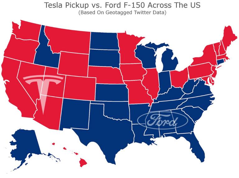 Tesla Pickup Truck vs Ford F150 Ranger Twitter US Tweet Location Data