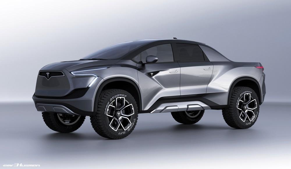 Tesla Pickup Truck Concept Image Rendering - Front Corner View