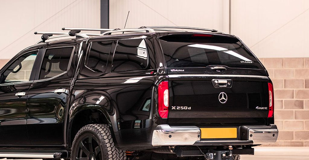 Rear angle of the Mercedes-Benz X-Class with Alpha Type-E Hard Top