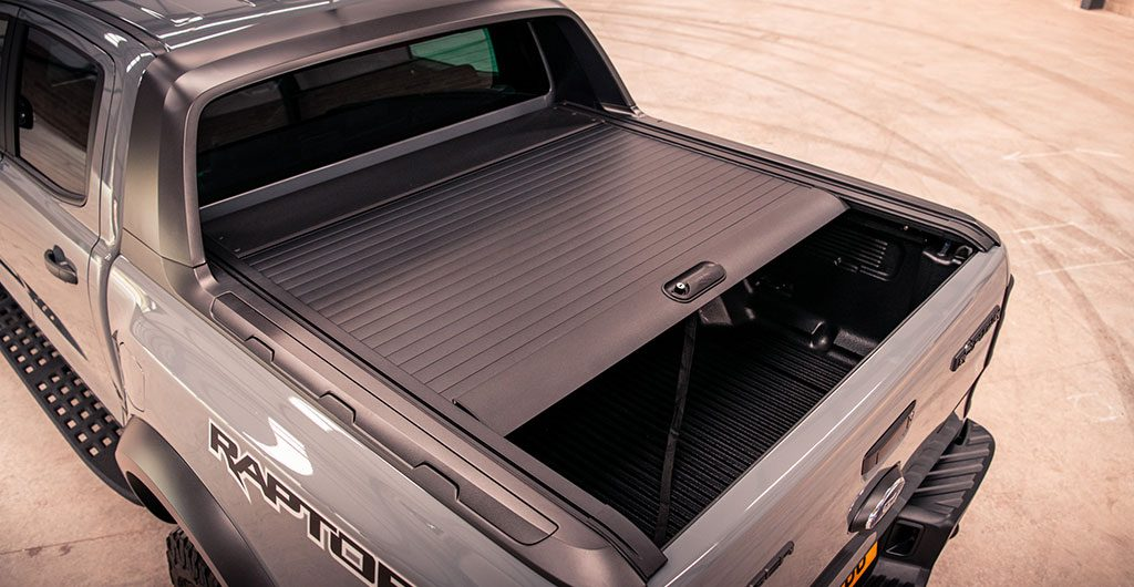Ford Ranger Raptor fitted with Mountain Top black roller shutter