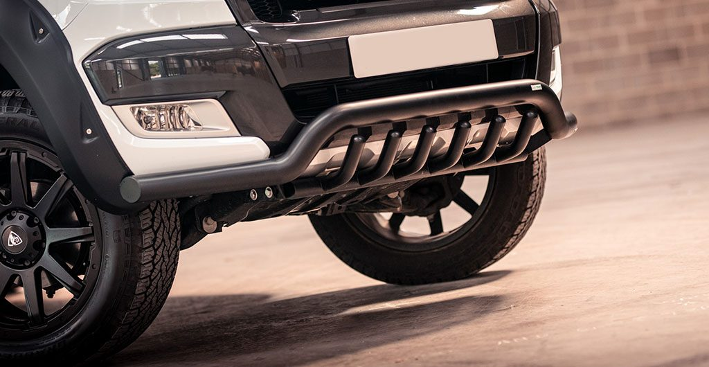 Best 4x4 Accessories - Ford Ranger black front nudge bar with axle bars