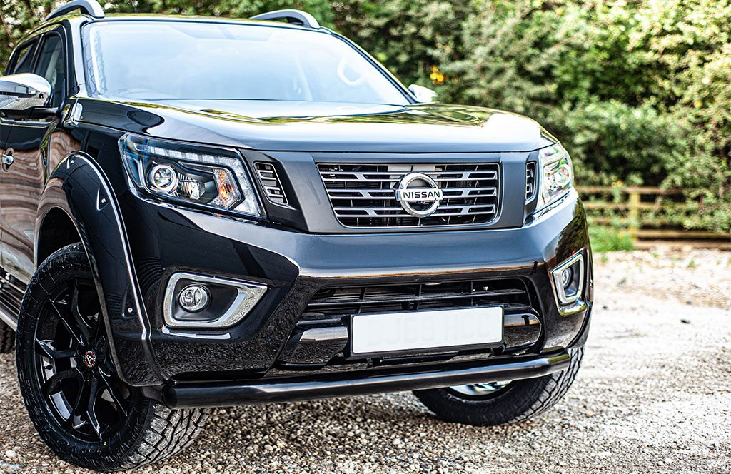 black nissan navara np300 with accessories - front view