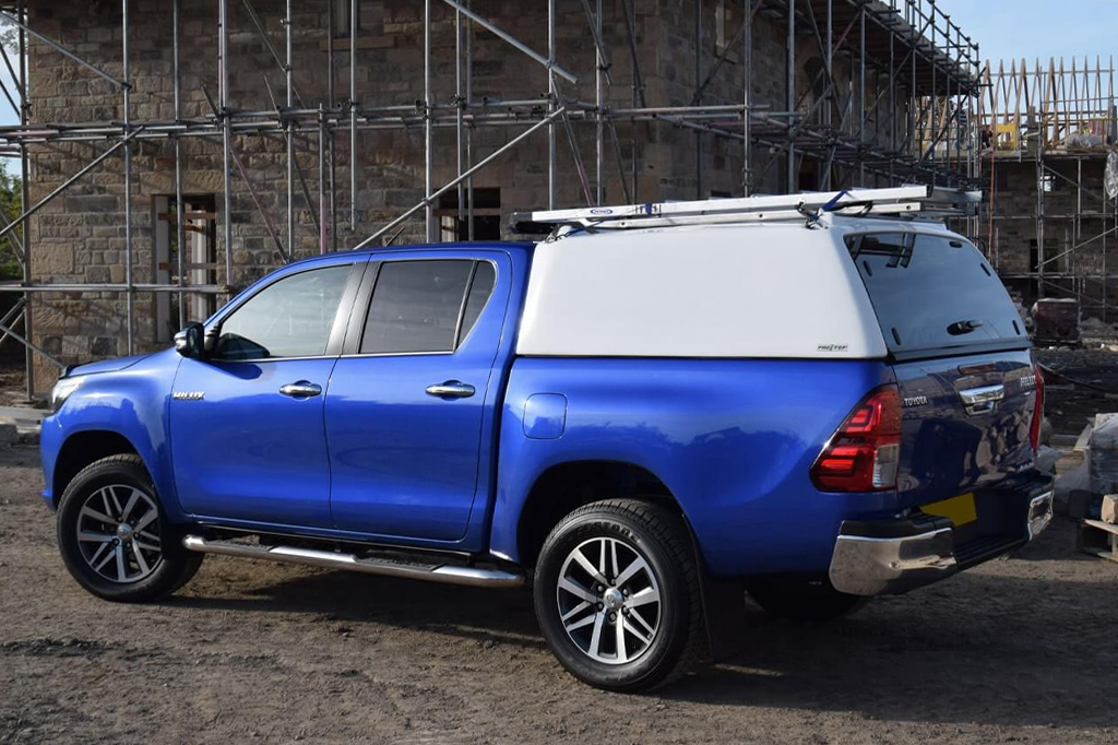 Toyota Hilux 2016 model with a ProTop Tradesman Canopy in white