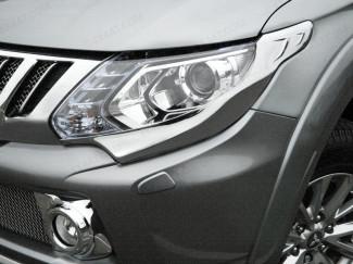 Chrome head light garnish for the Mitsubishi L200