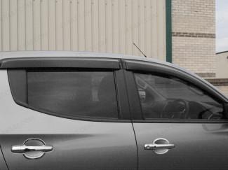 Dark smoke, tinted Mitsubishi Triton L200 2015 on wind deflectors