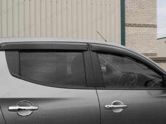 Dark smoke, tinted Mitsubishi L200 Series 6 2019 on wind deflectors