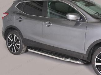 Nissan Qashqai Side Steps Full Length Black ABS Treads