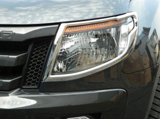Ford Ranger Mk5 2012 To 2016 Chrome Pair Of Head Lamp Surrounds