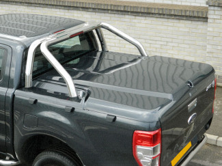 Ford Ranger T6 2012 On Paintable 3Pc Load Bed Cover - Unpainted With Roll Bar