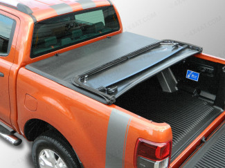 Open tri-folding tonneau cover