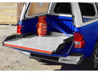 Wide Chequer-Plate Deck Heavy Duty Bed Slide Toyota Hilux 2016 Onwards