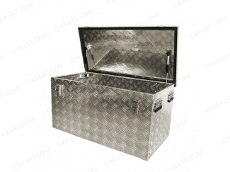 Large Aluminium Chequer Plate Tool Box, Lid Open