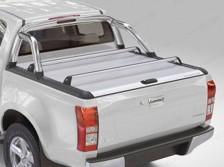 D-Max Mountain Top Roll - Silver Roller Shutter - With Roll Bar and X bars