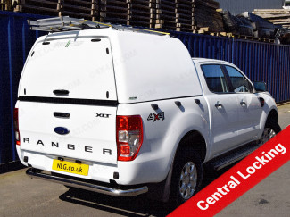 White Pro//Top High Roof Tradesman Hard Top For Ford Ranger Double Cab with Central Locking