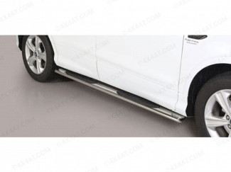 Ford Kuga 2017 Oval Side Steps With Black Treads - Polished Stainless Steel Finish