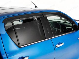 Dark smoke, tinted Toyota Hilux 2016 on wind deflectors