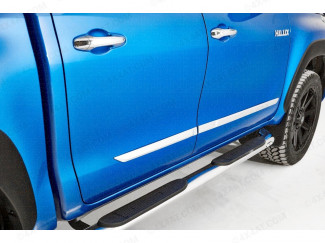 Toyota Hilux 2016 On - Lower Chrome Side Trims