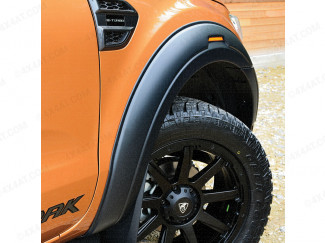 Ford Ranger Wildtrak fitted with matt black wheel arch kit with reflectors