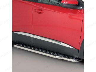 Peugeot 3008 2016 on Misutonida Side Steps w/ Full Length Black ABS Treads