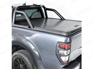 Ford Ranger Double Cab 2012 on Upstone Black Aluminium Lift up Tonneau Lid -OE Bar compatible