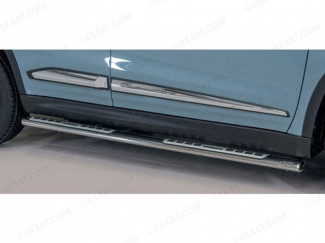 Suzuki Vitara 2019 Side Step Bars With Alloy/Rubber Treads - Polished Stainless Steel Finish