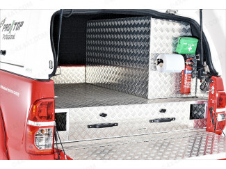 HILUX 6 04-15 D/C CHEQUER PLATE DRAWER SYSTEM – TWIN DRAWERS