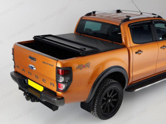 Ford Ranger double cab vinyl hard tri folding tonneau