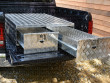 Aluminium pickup bed storage system with open drawer