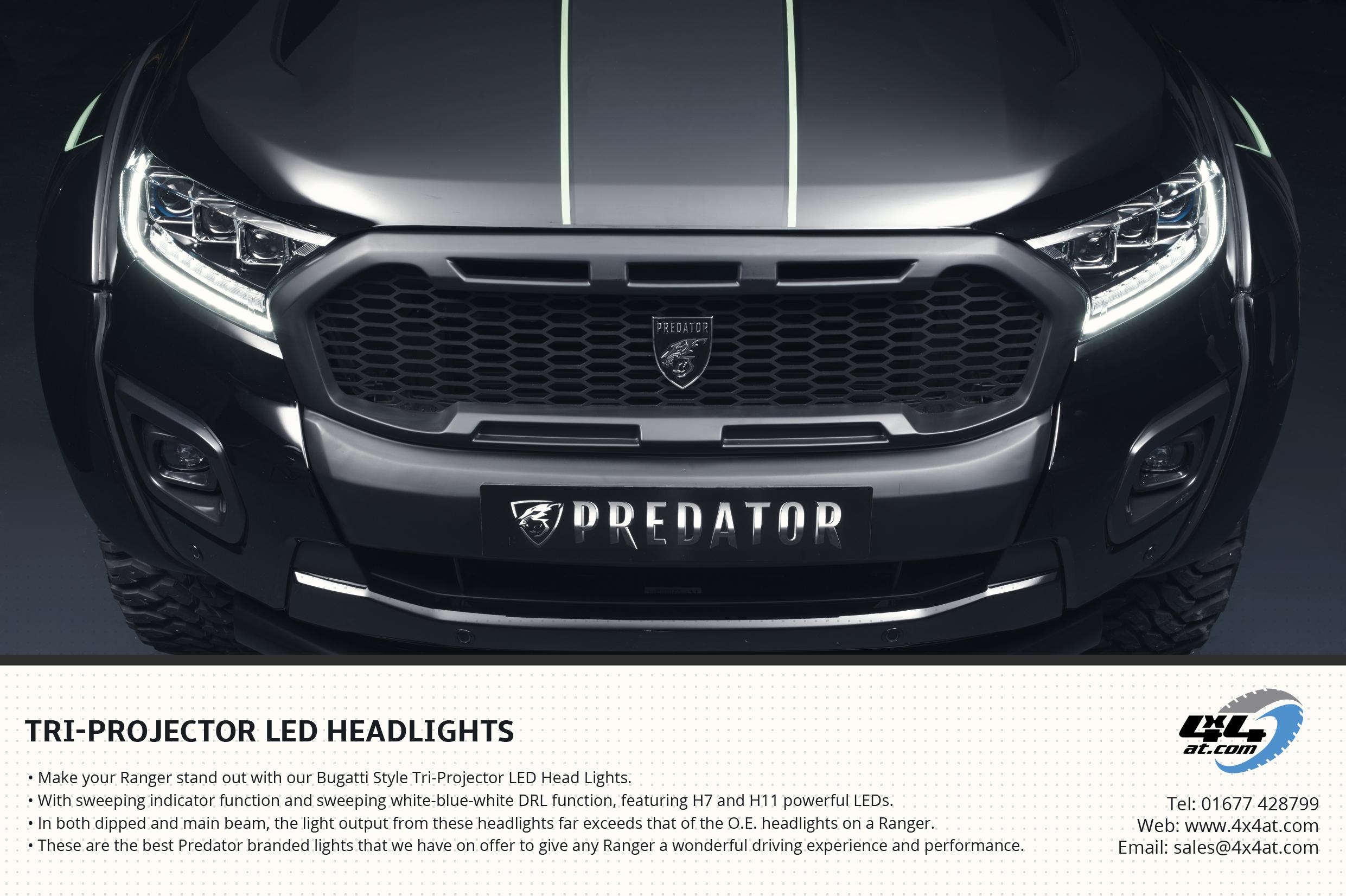 Bugatti Style Headlights Flyer for Ford Ranger
