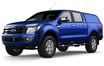 Front view of a Ford Ranger with the Aeroklas Commercial Canopy
