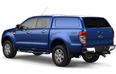 Left side view of the Aeroklas commercial canopy on a Ford Ranger
