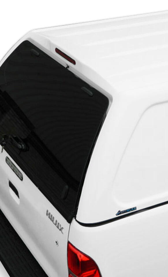 Glass rear door on the commercial truck top