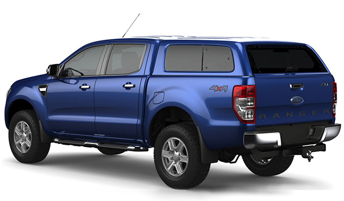 Aeroklas Lesiure canopy in colour matched blue on a double cab Ford Ranger