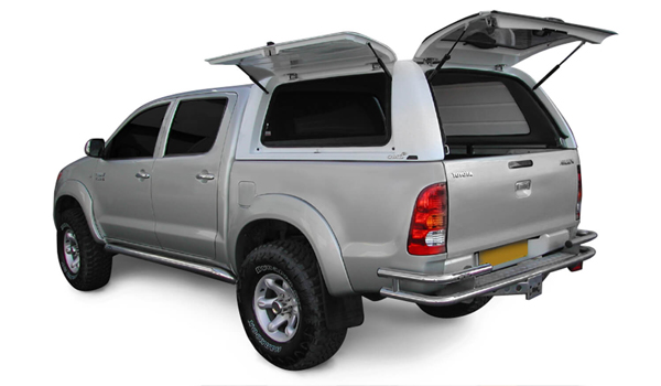 Alpha Gullwing Truck Top with side window and rear door open