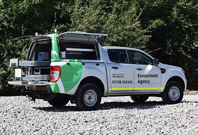Environment agency pickup fitted with Pro//Top High Roof Gullwing truck top
