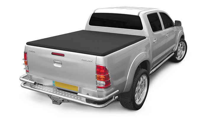 Hard Tr Folding tonneau cover fitted on a Toyota Hilux