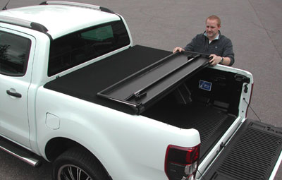 First pre set position of the Tri Folding tonneau cover