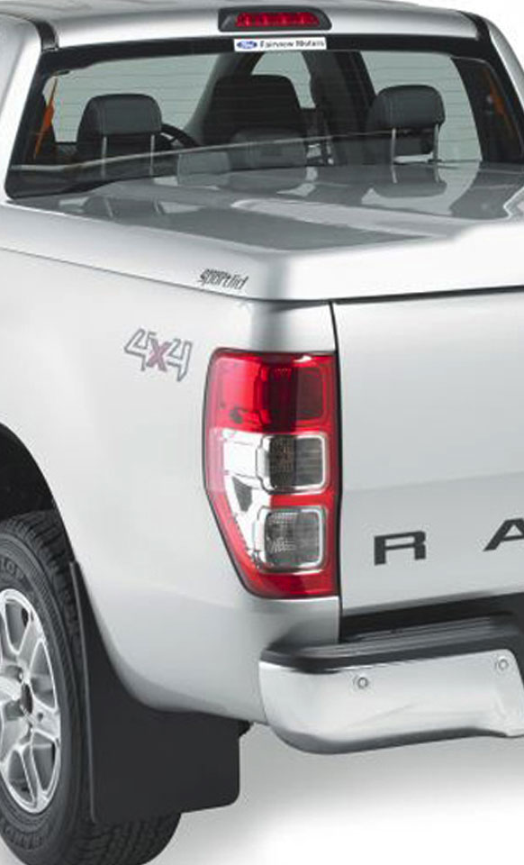 Side view of the Proform 1 piece sports lid on a Ford Ranger