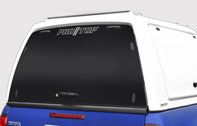 Glass rear door on the Pro//Top low roof canopy