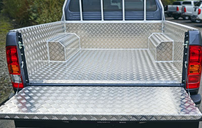 Samson chequer plate liner with angle surrounds that caps it off