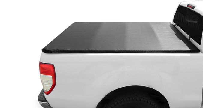 Close up side view of a fitted soft hidden snap tonneau cover