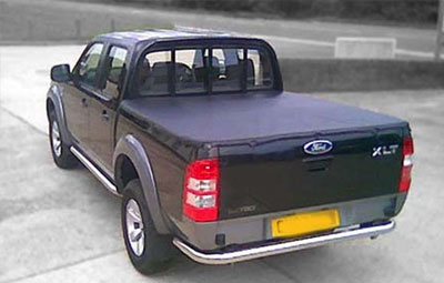 Double cab Ford XLT with soft tri folding tonneau cover fitted