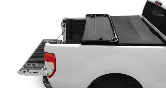Soft tri folding tonneau cover on a pickup truck