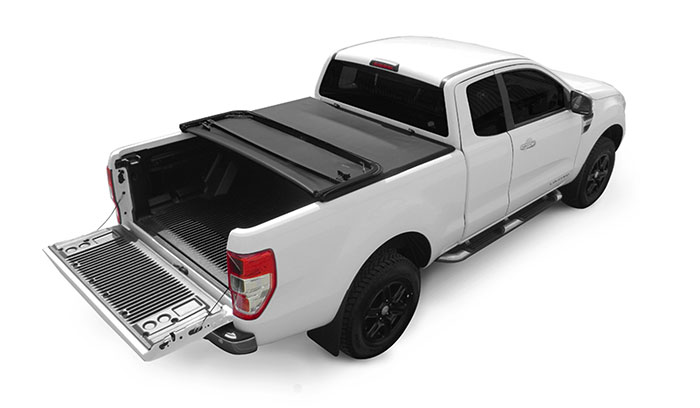 Soft Tri Folding tonneau cover partially open