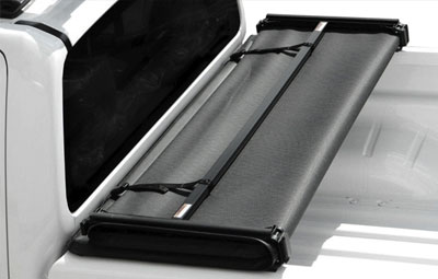 Folded up open soft tri folding tonneau cover