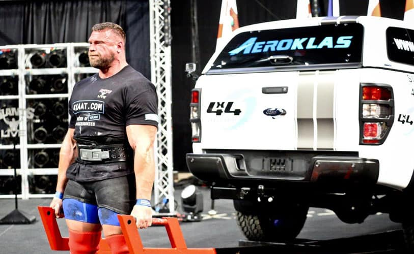 Terry Hollands - Britains Strongest Man Competition lifting 4x4AT Ford Ranger