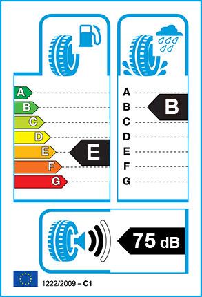 EU Tyre label - Fuel Efficiency Rating E, Wet Grip Rating B, External Noise 75dB